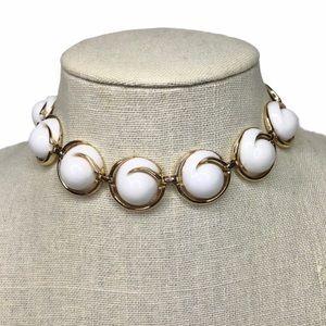 Vtg Coro White Plastic Gold Link Choker Necklace